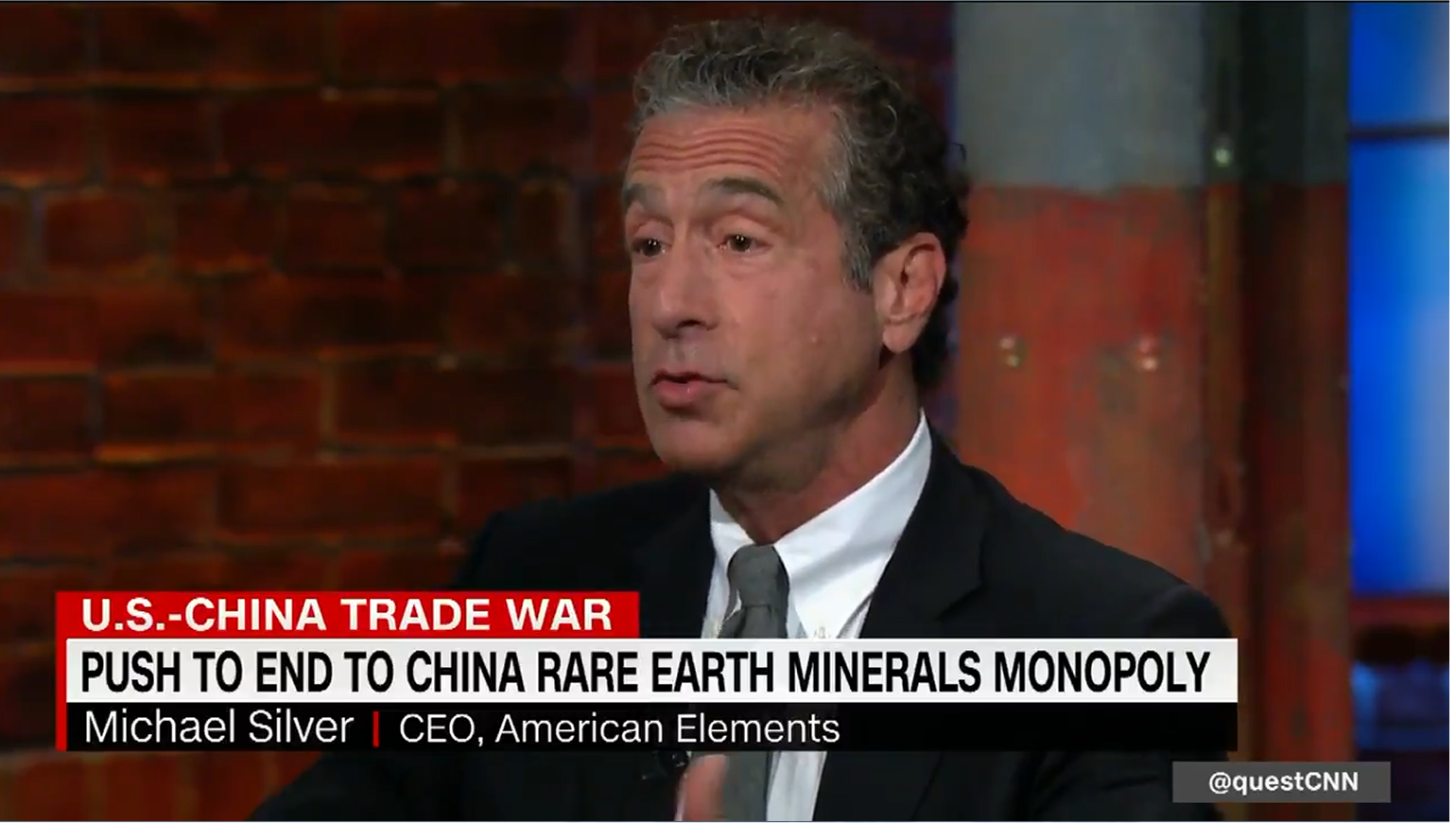Michael Silver on CNN: White House Should Include Rare Earths in China Trade Deal