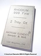 Rhodium Bars, Investment Grade Bullion, 999 Fine