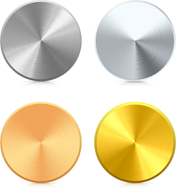 Aluminum, titanium, copper, and gold sputtering targets