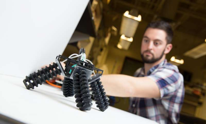 American Elements Share Article 3-D-printed, soft, four legged robot can walk on sand and stone