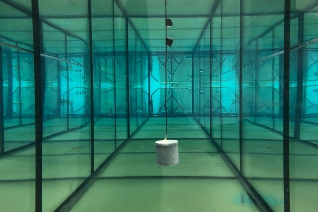 Undersea sensor is powered by sound waves from the surface