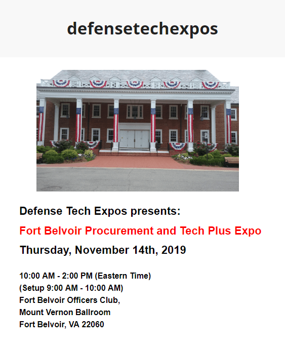 Fort Belvoir Procurement and Tech Plus Expo - Defense Tech Expo 2019