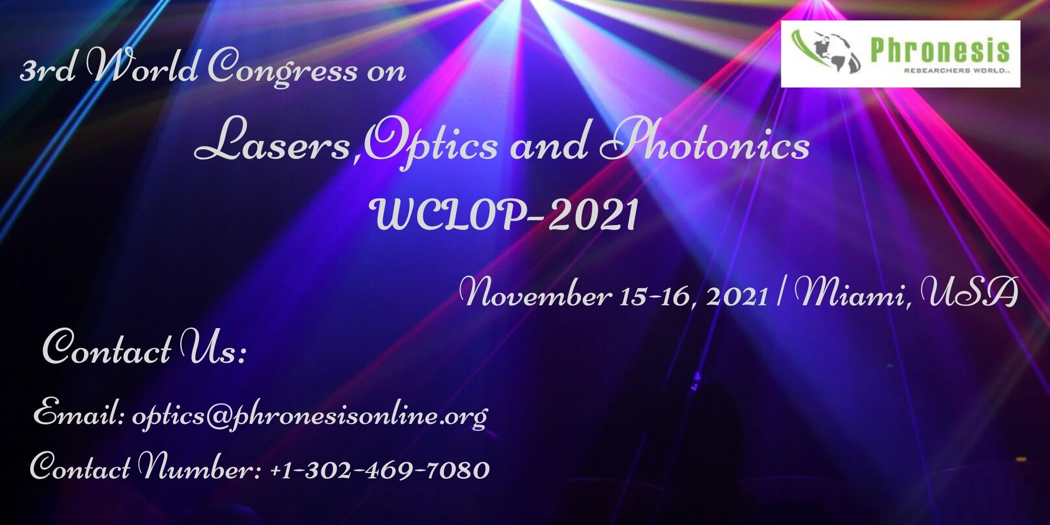 3rd World Congress On Lasers, Optics and Photonics - WCLOP 2021