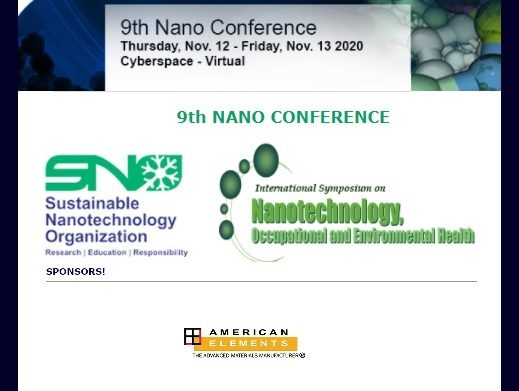 The 9th Sustainable Nanotechnology Organization Virtual Conference - SNO2020