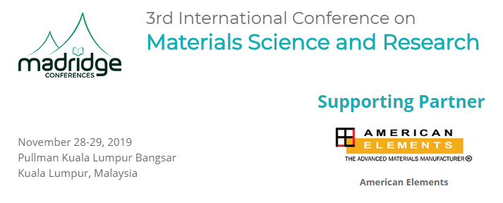 Americane Elements Sponsors 3rd International Conference on Materials Science and Research ICMSR 2019 Logo Banner